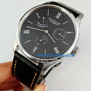 41mm Parnis Black Dial Power Reserve Seagull Automatic Movement Men S Watch 2522 Ebay