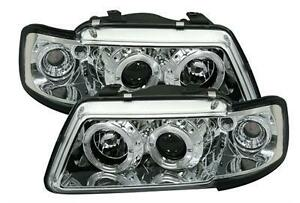 2 feux phare avant angel eyes a led pour audi a3 8l phase 1 de 1995 a 2000 chrom ebay