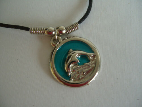 """DOLPHIN SWIMMING OVER ROCKS NECKLACE PENDANT WITH 16/"""" BLACK CORD"""