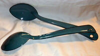 2 X Cinsa Peltre Cooking Serving Spoons Steel Speckeld Blue Gloss Coated Mexico