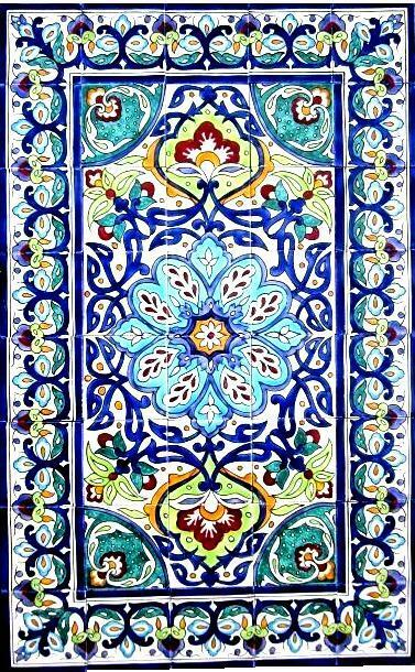 DECORATIVE CERAMIC TILES: LARGE MOSAIC PANEL HAND PAINTED WALL MURAL 48in x 30in