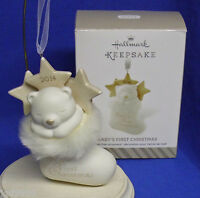Hallmark Ornament Baby's First Christmas 2014 Porcelain Teddy Bear In Stocking
