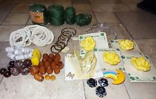 Lg. Lot of Vintage 1970's? Macrame Beads, Cords, Jute, Ceramics, Rings, Some New