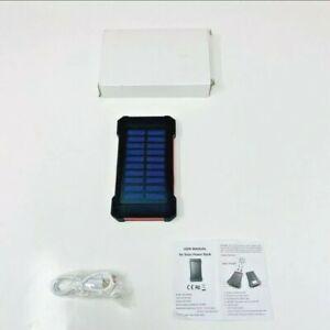 Solar Power Bank Portable Charger W/ Flashlight 8000mAh - USB