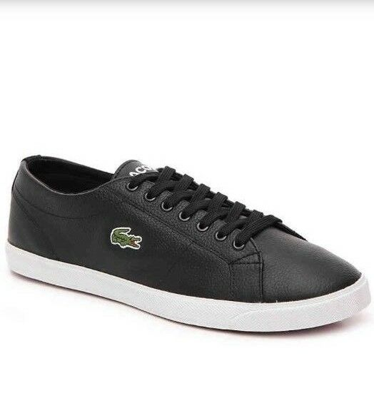 dfa0cc105f64c Lacoste Men  039 s Black Leather  amp  Tweed Lace Up Fashion Trainer ...