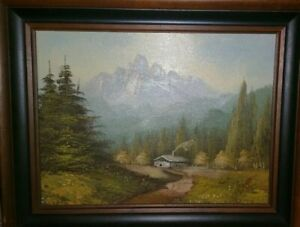 HIDDEN-VALLEY-MOUNTAIN-FOREST-LANDSCAPE-OIL-ON-CANVAS-PAINTING-w-NICE-FRAME