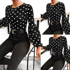 Women-039-s-Polka-Dot-Puff-Sleeve-Tops-Tee-Blouse-Ladies-Casual-Round-Neck-T-Shirt