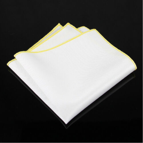 Men Classic White Cotton Colorful Rolled Edge Handkerchief Pocket Square Hanky