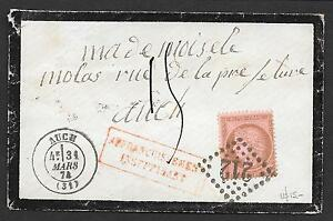 France covers 1874 YV58 Mourning cover to Auch + postmark!