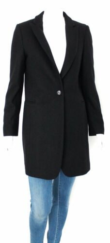 Donna Kaos Nero Trench Misto Jeans Lana Cappotto Blazer Bottoni Jacket Black 1TawqxSn