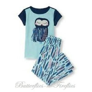 3256c659d NWT The Children s Place 2pc Pajama Set OWL Tee and FEATHER Pants ...