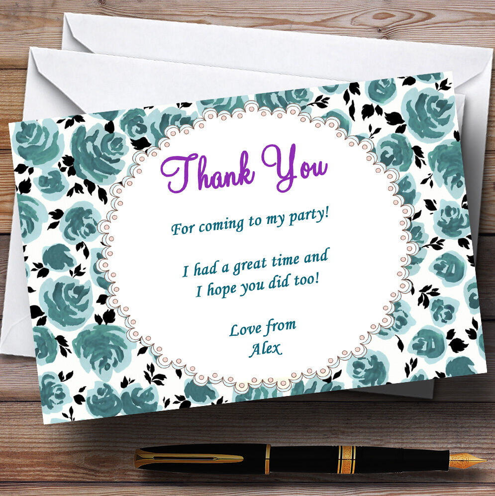 Turquoise Garden Tea Party Thank You Cards Personalised Party Thank You Cards