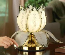 Lotus Flower Table Lamp Decor Touch Blossom Brass Plated Light Living Bed Room