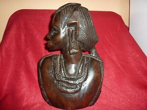 VINTAGE AFRICAN HAND CARVED WOODEN 30CM LADY WITH BEADED HAIR,NECKLACE &EAR RING