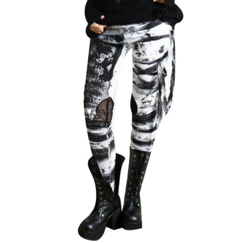 Women Gothic Steam Punk Leggings Ladies High Waist Skinny Party Pants Trousers