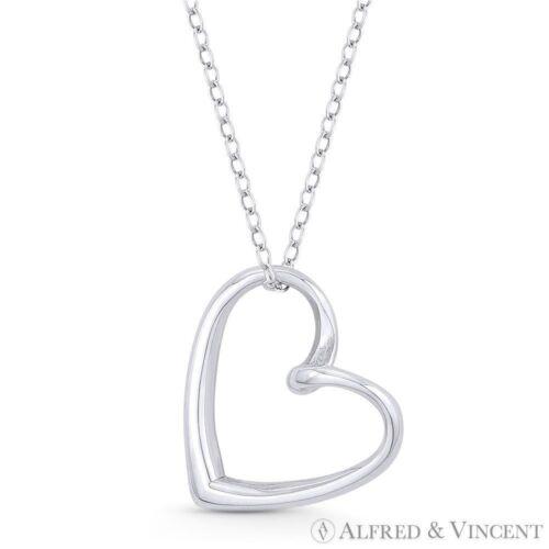 Sideways Open Heart Love Charm Pendant /& Necklace in Solid .925 Sterling Silver