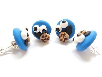 Krümelmonster Ohrringe Ohrstecker Keks Monster Cookie Karnevalschmuck Fasching Erfrischend Und Wohltuend FüR Die Augen