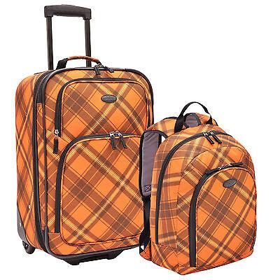 US Traveler Carry-on Orange Plaid Expandable Rolling Luggage & Backpack Bag Set