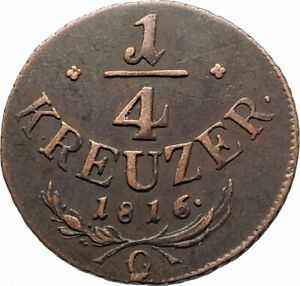 1816-AUSTRIA-Emperor-Franz-II-Hapsburg-Antique-1-4-Kreuzer-Austrian-Coin-i76543