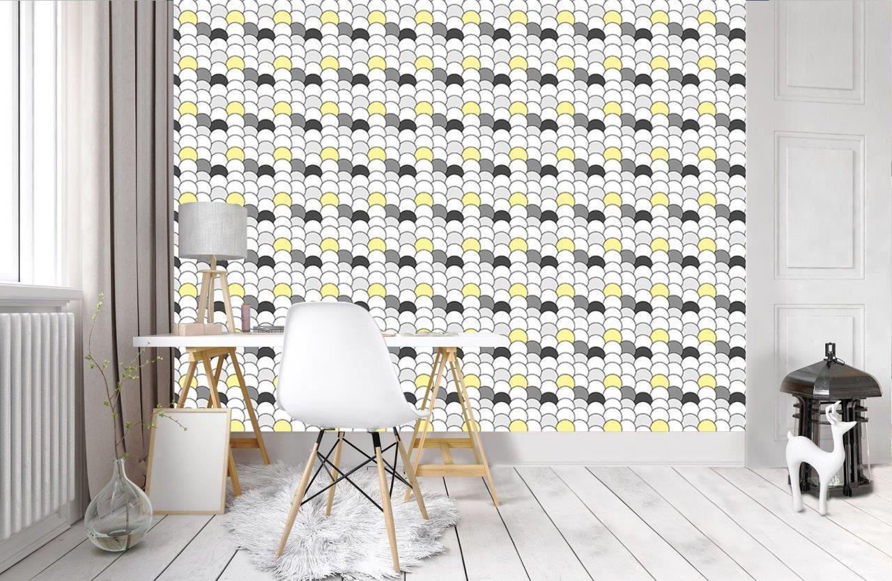 grau & Gelb Rounds Pattern Wallpaper Wall Mural Woven Self-Adhesive Kids T08