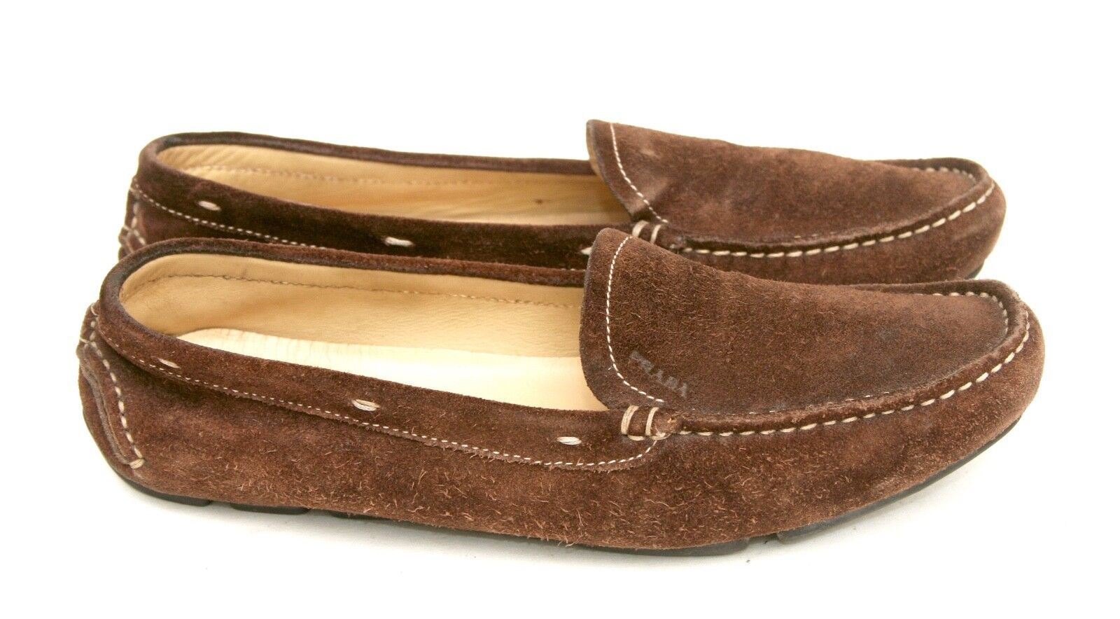 Prada Italy Brown Suede Leather Loafer Slip On Oxford Driving Shoe SZ 35.5  US 5