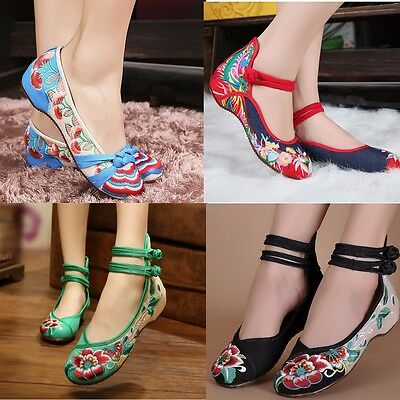 Womens Bridal Casual Ballet Sandals Embroidered Flower Flat Shoes Mary Jane Pump