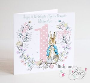 Image Is Loading PERSONALISED PETER RABBIT Birthday Card Daughter Granddaughter Girl