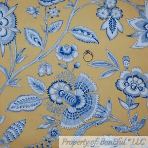 Details About Boneful Fabric Fq Cotton Decor Yellow Blue Colonial French Country Toile Flower
