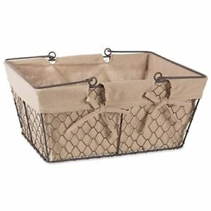 Image is loading Metal-Chicken-Wire-Storage-Basket-Handles-and-Removable-  sc 1 st  eBay & Metal Chicken Wire Storage Basket Handles and Removable Fabric Liner ...