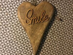 Details About Large Rustic Chunky Wooden Hanging Heart Smile Caption 20 X 15cm