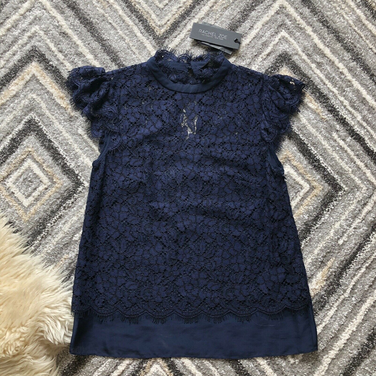 NWT Rachel Zoe Athens Sheer Lace Knit Mock Neck Blouse Navy Blau Sz 2