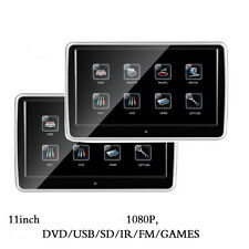 "2PCS 11.2"" HD 1080P Touch Screen Car Headrest DVD Monitor Player HDMI USB/SD/FM"