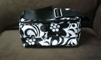 VERA BRADLEY Lunch Bag Tote Night Day Insulated COOLER Black White Floral EUC