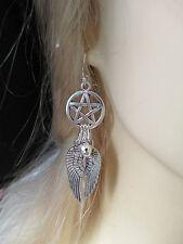 Guida SPIRITO NATIVO INDIANO ORECCHINI con un PENTAGRAM, grandi ali d'angelo e una campana
