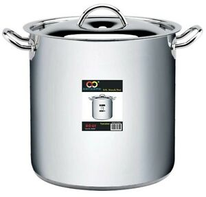 CONCORD-80-QT-Stainless-Steel-Stockpot-3-Ply-Bottom-w-Lid-amp-Steamer-Insert