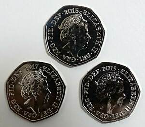 2015-2017-2019-Shield-BU-50p-Coins-Royal-Mint-Fifty-Pence-Coins-Set-of-3