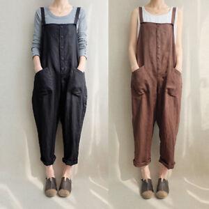 Nuevo-Para-Mujer-Casual-De-Algodon-Pantalones-De-Peto-Mono-Tallas-Grandes