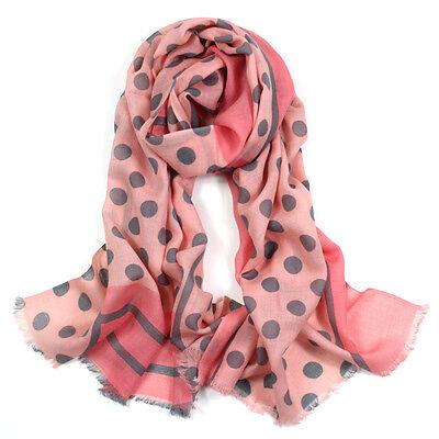 100% Pura Lana Donna Pashmina Sciarpa Soft Wrap Stola Stampa A Pois In Colore Rosa-