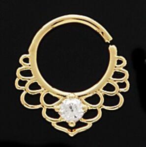 "Septum Nose Gold Plate Filigree w//Clear Gem Annealed 16 Gauge 3//8/"" Brass Body"