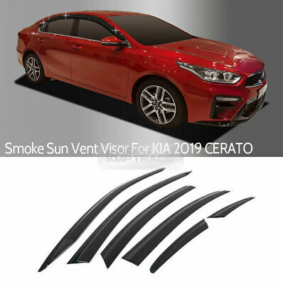 Cerato AUTOCLOVER Dark Smoked Side Window Vent Visor 4 Piece Set for KIA Forte 2018 2019 // Safe RAIN Out-Channel Guard Deflector