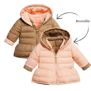 b751e8b3a6 Details about CHLOE BABY GIRLS BEIGE REVERSIBLE DOWN PADDED COAT 2 YEARS