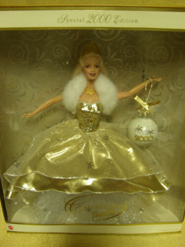 NIB 2000 Celebration Barbie Mattel White and gold dress