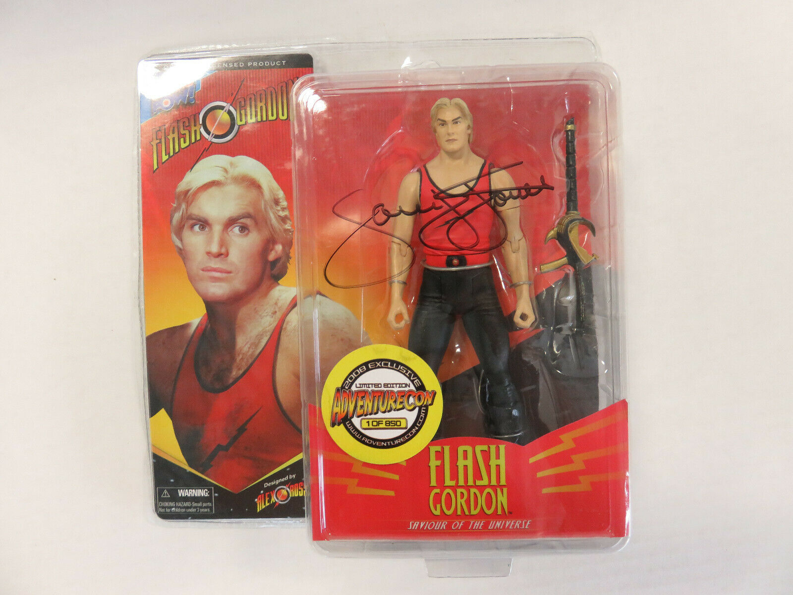 Flash Gordon 2008 firmado Sam J. Jones adventurecon Exclusivo -  nuevo  Alex Ross