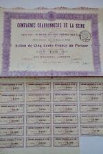 Action de 500 francs au porteur Cie charbonnière de la Seine 1919