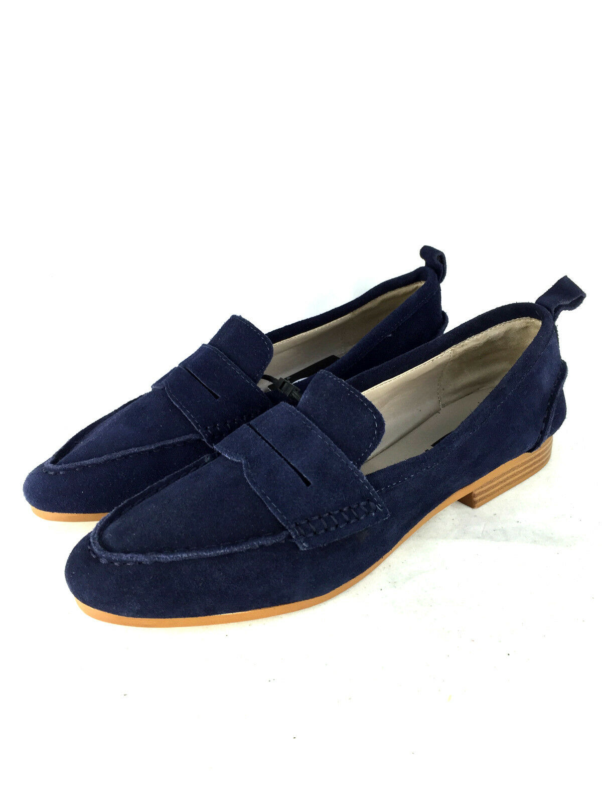 ZARA Blau LEATHER MOCCASIN Schuhe LOAFERS FLATS SIZE UK8 EUR41 US10