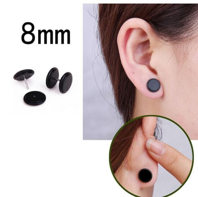 16G 0G 8MM LOOK BLACK WHITE CHEATER EAR PLUG ILLUSION GAUGES EARRINGS STUDS