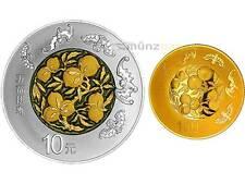 10 + 100 Yuan Auspicious Culture Wu Fu Gong Shou Pfirsich China Silber Gold 2016