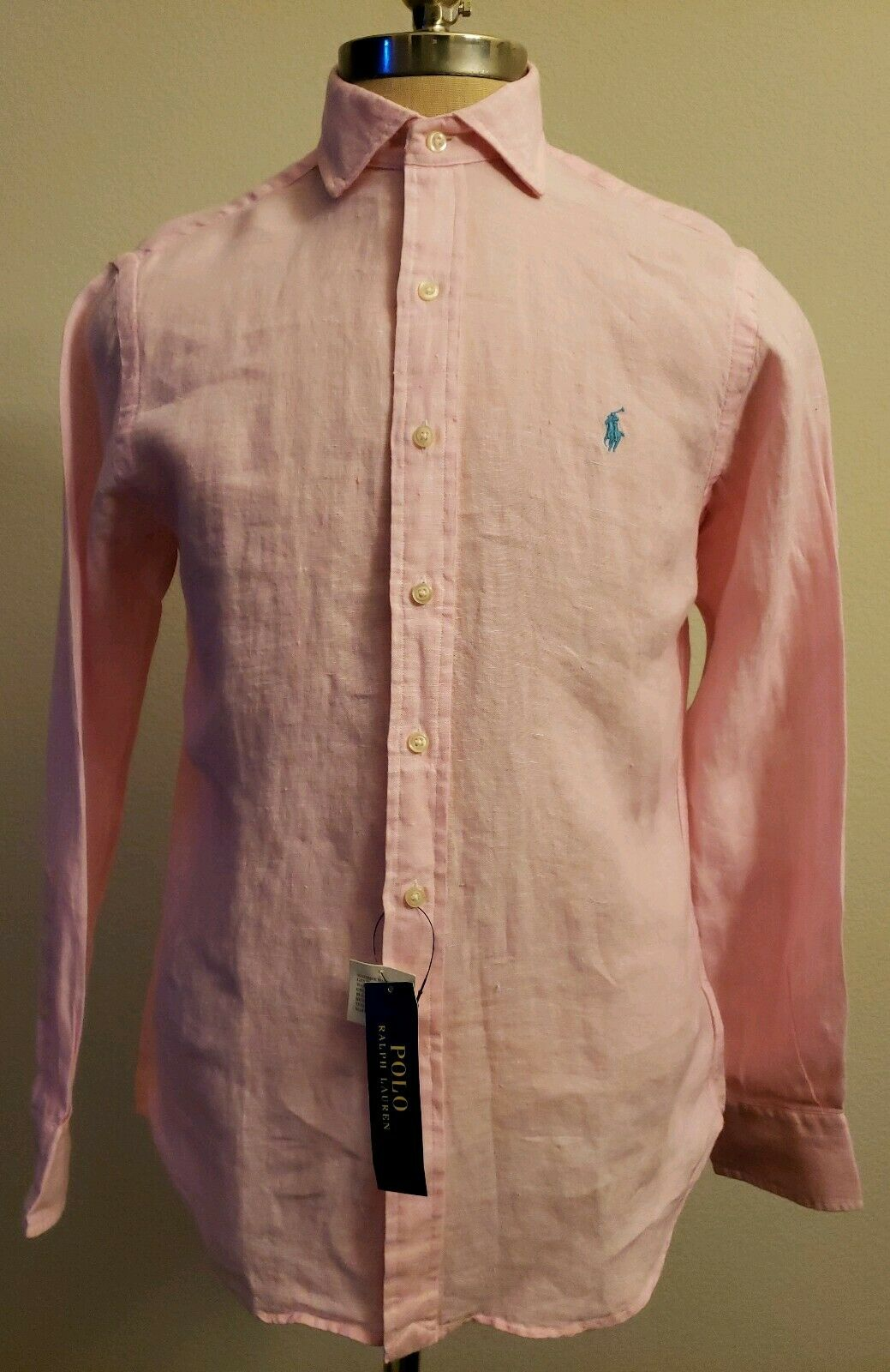 Polo Ralph Lauren Mens Linen Pony Logo Button Down Shirt Size L Pink THESPOT917