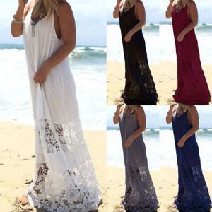 Plus-Size-Women-Sleeveless-Scoop-Neck-Low-Cut-Side-Lace-Crochet-Long-Maxi-Dress
