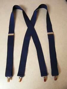 Solid-Color-Navy-Blue-54-inch-Strong-Jaw-Clips-clamp-on-suspenders-1-5-inch-wide